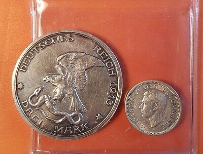Massive Germany Silver 3 Marks 1913 WWI One Year Type French Napoleon  !!!