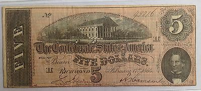1864 $5.00 Confederate states bank note