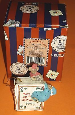 1994 Enesco Pennywhistle Lane-Mice With Book Hanging Ornament 655422 New!