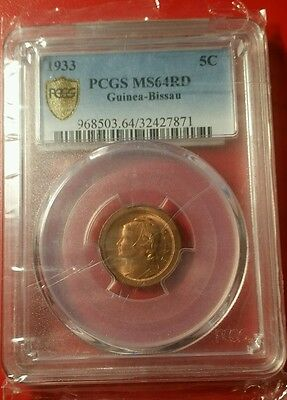 Rare 1933 5 Centsvos Portuguese Guinea-Bissau RD PCGS MS 64 Just 1 in Full Red !