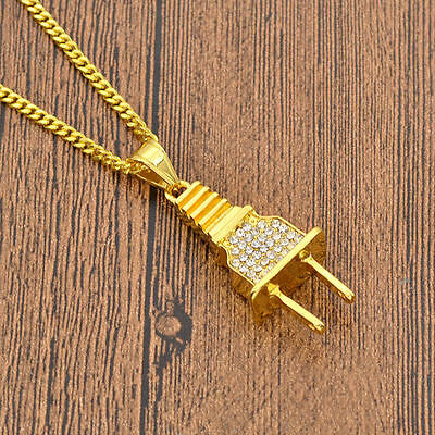 Iced Out Gold Plug Pendant Cuban Chain Necklace U.K SELLER