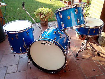 LUDWIG down beat   BLUE SPARKLE  1960  batteria drum set kit vintage