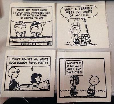 Lot of 4 Patches #2 The Smiths Lyrics Peanuts Parody Silkscreen Patch Morrissey