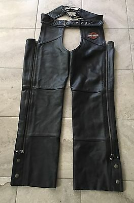 Harley Davidson Mens Genuine Black Leather Chaps Size Medium