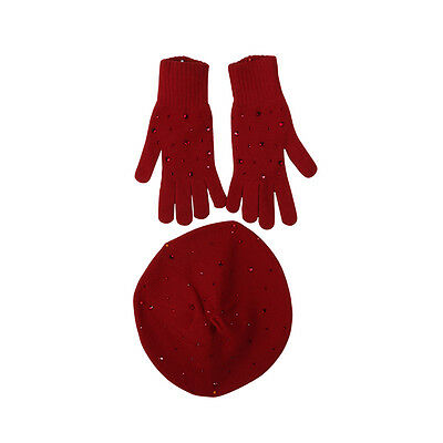 William Sharp Swarovski ® crystals CASHMERE KNIT BERET WITH MATCHING GLOVES SET