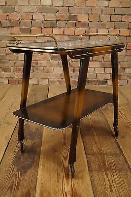 50er Serving Cart Tea Trolley Table Side Table Rockabilly Design Wood Brass