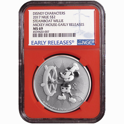 2017 $2 Niue Silver Steamboat Willie Mickey Mouse Disney NGC MS69 Blue ER Label