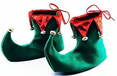 Deluxe Green and Red Elf Jester Pixie Shoes Boots Christmas Fancy Dress Costumes