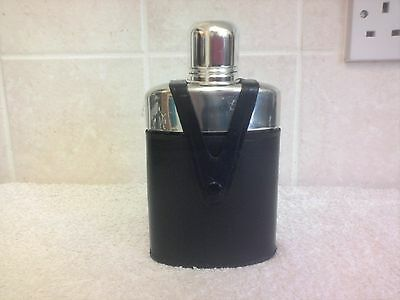 Vintage Real Hide Leather Biack Hip Flask Glass Stainless Steel