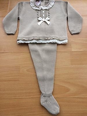 Beautiful Spanish Style Baby Girl Boy Knitted Top Leggings Set Lace Bow 3M