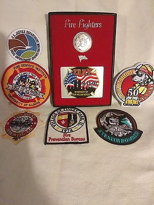 VTG Fireman memorabilia patches Sparky Fire Dog 911 FDNY Firehouse Department
