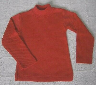 Vintage Long-sleeve Ribbed Top - Age 2 Years - Cherry Red - Cotton/Poly - New