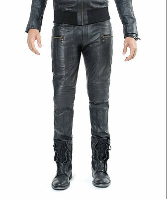 Men's Real Leather Bikers Pants Bikers Trousers Padded Pants +FREE LEATHER BELT