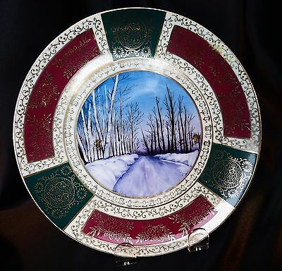 "Antique Royal Vienna 8"" Cabinet Plate Hand Painted Winter Scene Unsigned"
