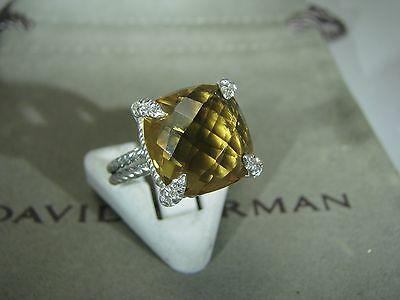 Authentic David Yurman Silver Chatelaine 11Mm  Citrine Pave Diam Ring Size 6