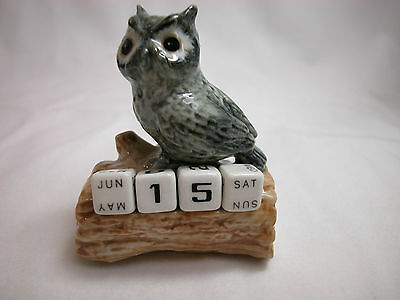 Closeout Porcelain Miniature Animal Tracks Owl Calendar #CAL308