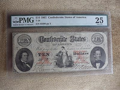 1861 Pmg Very Fine 25 $10 T-26 Confederate Currency