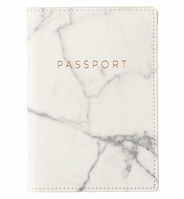 Eccolo Travel Passport Cover Case with Storage Pocket Marble