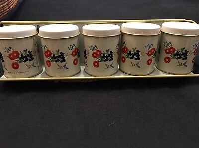 Vintage Meister Tin Metal Spice Rack With Matching Rack