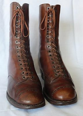 Antique 1880s Victorian Leather Shoes Boots with laces – Handmade - Swiss