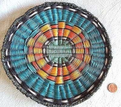 Vintage HOPI WICKER BASKET 8.25- Inch Basketry Plaque COLORFUL TURQUOISE