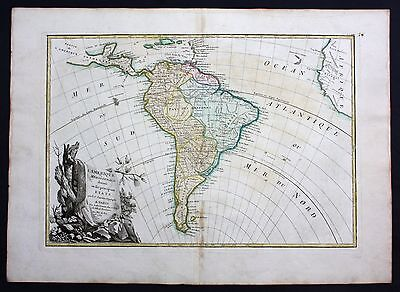 1762 - South America Brazil Chile Colombia map carte Karte