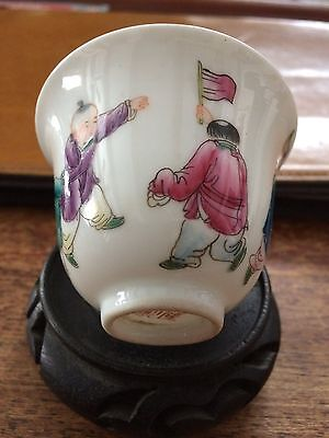 A Fine and Rare Chinese Famille Rose Porcelain Cup, Marked.