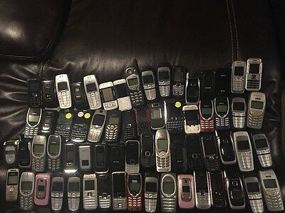 Lot Of 65 Nokia Cell Phones Flip Candy Bar Untested No Backs And Batteries