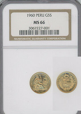 PERU 1960 gold 5 Soles Seated Liberty  NGC MS66