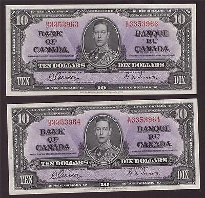 2x 1937 Bank of Canada $10 consecutive notes B/D3353963-64 CH UNC64 EPQ