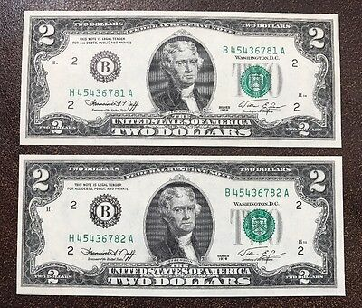 Series 1976 Two Consecutive $2 error notes: MISMATCHED Prefixes
