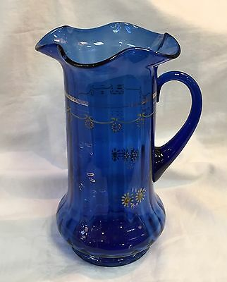 Antique Victorian Hand Enameled COBALT BLUE GLASS LEMONADE PITCHER Jug