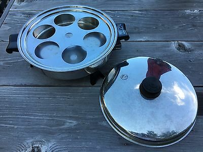TESTED Vtg Saladmaster 7817 Electric Skillet Vapo Lid Egg Poacher Insert NO CORD