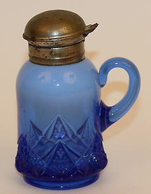 Rare Northwood Blue Opalescent Diamond & Spearhead Syrup Pitcher