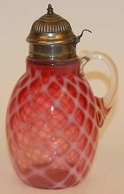 Hobbs Cranberry Opalescent Bubble Lattice Syrup Pitcher