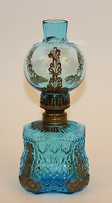 Blue Crocodile Tears Miniature Lamp With Matching Chimney