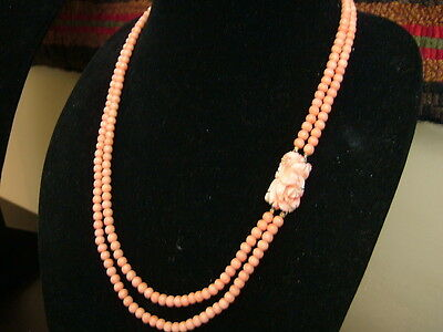 Antique Undyed Coral Double Strand Necklace With Carved Flower