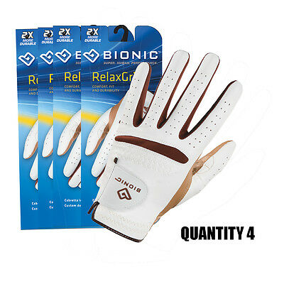 4 x Bionic RelaxGrip Ladies Golf Gloves Durable Leather Palm & Synthetic Back.