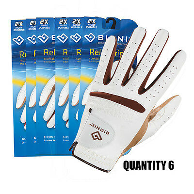 6 x Bionic RelaxGrip Ladies Golf Gloves Durable Leather Palm & Synthetic Back.
