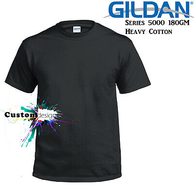 Gildan T-SHIRT Black blank plain tee S M L XL 2XL XXL Men's Heavy Cotton Premium