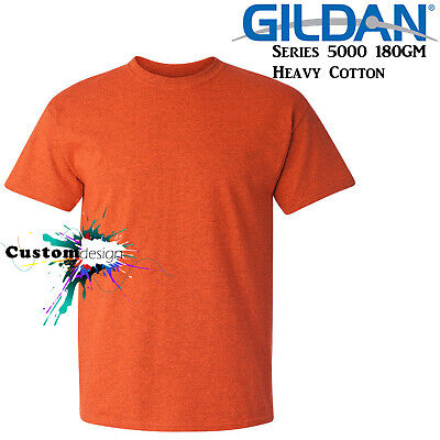 Gildan T-SHIRT Antique Orange blank tee S M L XL 2XL big Men's Heavy Cotton
