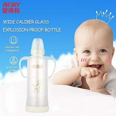 IVORY 240ml Borosilicate Glass Baby Feeding Bottle with Protective Cover G GT