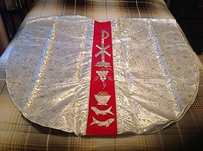 Vestment, Chasuble, White, Silver, Red, Church
