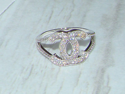 Silver Ring,Cocktail ring,Solitaire band,Cluster designer Band  size 6 / M
