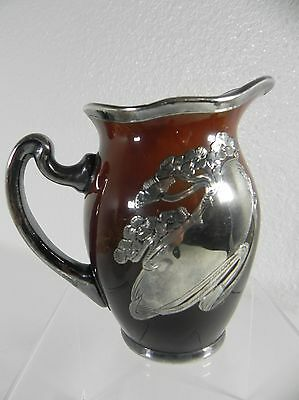 "CAC Lenox Porcelain 4"" Cream Pitcher Brown Slip Sterling Silver Overlay c1900"