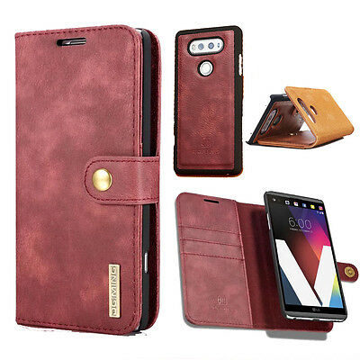 For LG V20 G6 G7 Genuine Flip Leather Removable Wallet case Card Slots cover