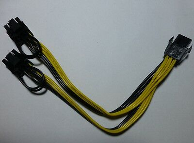 6 Pin Female to Dual 8 Pin Male (2Pin  6Pin) PCI Express Video Card Power Cable