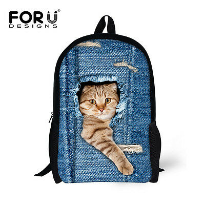 Women Girl Travel Satchel Backpack Cat Rucksack Shoulder Bookbag School Bag Blue