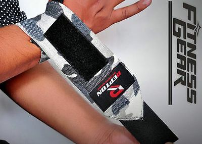 Power Weight Lifting Wrist Wraps REPTON Supports Gym Training Fist Straps CAMO13