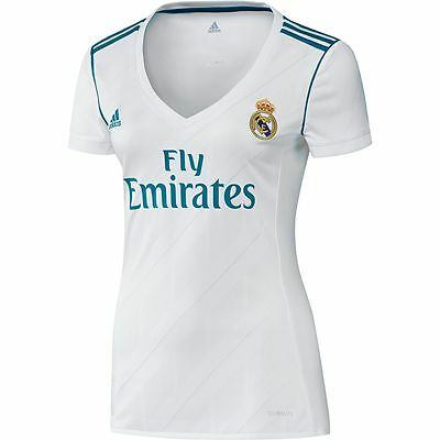 adidas Real Madrid 2017 - 2018 Womens Home Soccer Jersey Brand New White / Sky